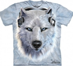 Футболка The Mountain White Wolf DJ - Белый волк Диджей