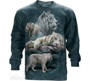 Футболка The Mountain White Tiger Collage - Белые тигры (длинный рукав)