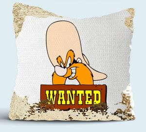 Wanted Yosemite Sam подушка с пайетками (цвет: белый + золотой)