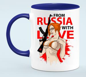 From Russia with love Кружка двухцветная (цвет: белый + синий)