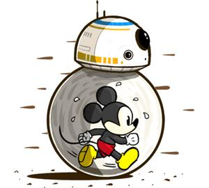 Микки Маус и дроид Биби-восемь (Mickey Mouse and BB 8) подушка с пайетками (цвет: белый + черный)