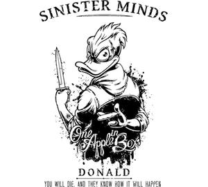 Зловещий Дональд - Sinister Minds Donald. One apple in box. You will die and they know how it will happen кружка с кантом (цвет: белый + синий)