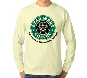 Star Wars Coffee - the froth is strong with this one Мужская футболка с длинным рукавом (цвет: Слоновая кость)