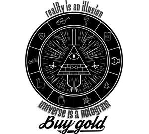 Гравити фолз Билл шифр - Bill Cipher Buy gold, reality is an illusion, universe is a hologram Кружка с кантом (цвет: Белый + желтый)