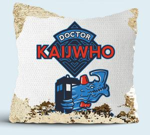 Doctor Who x Kaiju подушка с пайетками (цвет: белый + золотой)